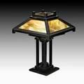 Arts  crafts table lamp usa ca 1915 oak and polychrome slag glass single socket unmarked 24 12 x 18 sq provenance d magner new york 8180 eckhardt allison m living with antiq