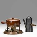 Roycroft rare coffee pot and chafing dish east aurora ny 19151925 hammered silver oak hammered copper glazed stoneware brass orb and cross marks dish marked oven proof w coffee pot 10