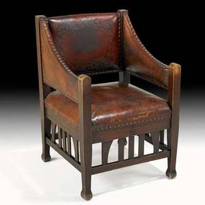 Roycroft important tooled leather and mahogany armchair east aurora ny ca 1905 carved orb and cross mark 36 12 x 24 x 24 12 one of three known the special armchair was offered in maho