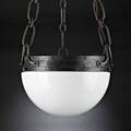Victor toothaker roycroft chandelier usa 1920s hammered copper and iron milk glass orb and cross mark 28 12 x 14 12
