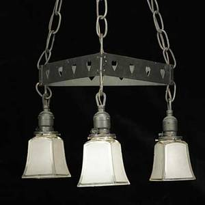 Roycroft attr two iron chandeliers with glass shades usa ca 1910 unmarked total from ceiling plates 32 x 14 provenance the artsman pa publications albert fred rancho roycroft s