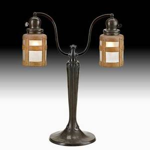 Handel double student lamp meriden ct ca 1915 patinated bronze painted and chipped glass strap shades two sockets base and shades marked handel total 21 x 15 shades 5 12 x 4