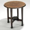 Roycroft tea table east aurora ny ca 1905 carved orb and cross mark 23 12 x 23 provenance jordanvolpe gallery new york