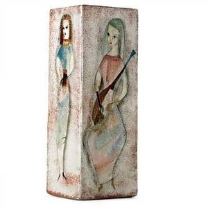 Pillin foursided glazed ceramic vase with ladies and guitar signed 11 34 x 4 14