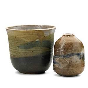 Toshiko takaezu 19222011 glazed stoneware vase and bowl clinton nj ca 1995 both signed tt bowl 6 14 x 7 14 vase 5 12 x 4 14