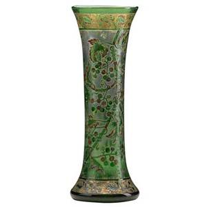 Vallerysthal tall acidetched enameled and gilded glass vase with berries and insects france 1880s signed vallerysthal 13 12 x 4 34