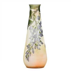 Galle acidetched cameo glass vase with wisteria nancy france ca 1900 signed galle on body 11 12 x 4