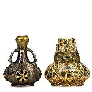Amphora two jeweled and gilt decorated vessels imperial amphora fourhandled vase with reticulated roundels and squat vase with holly decoration handled vase marked imperial amphora turn the oth