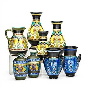 Zuidholland gouda eight pieces three vases and jug in madeleine pattern c1930 pair of zomer bud vases 1922 and pair of doublehandled grace vases 1925 gouda netherlands tallest 8
