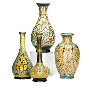 Zuidholland gouda four vases laurie 1923 mary 1923 vlam 1921 and bottleshaped vase with slender neck c1925 gouda netherlands all marked gouda holland tallest 12 12