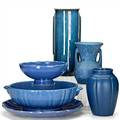 American pottery six vessels in blue glaze three vases two bowls and underplate unmarked tallest vase 12