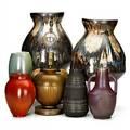 European art pottery seven pieces pair of bulbous vases guiseppe mazzotti vase bjorn winblad vase for alingsaskeramik orange vase marked urania doublehandled lustre vase and table lamp 20t
