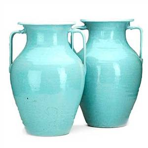 North carolina pair of large garden urns turquoise glaze north carolina 1920s30s unmarked 21 x 14