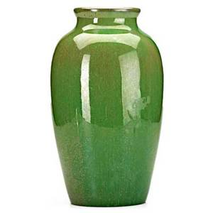 Fulper tall vase in speckled brown over green unmarked 12 x 7 dia