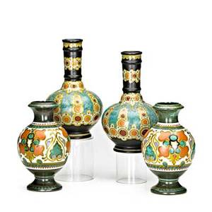 Zuidholland gouda four pieces pair of henley bottleshaped vasesc1923 and pair of gops baluster vases 1923 gouda netherlands all marked gouda holland with pattern name taller 9 12