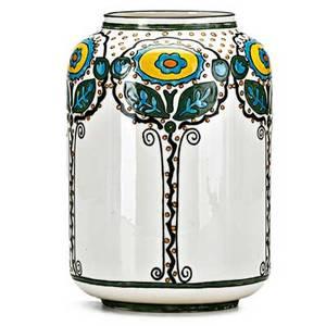 Dorothea warren ohara willets belleek enameldecorated porcelain vase with fulllength art deco florals green willets belleek mark 7 x 4 34 dia publication forster alternative american ce