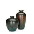 Clewell two copperclad vases with verdigris patina both signed taller 7 14