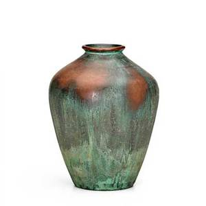 Clewell copperclad ovoid vase with verdigris patina signed 8 12 x 7 dia