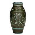 Elizabeth barrett rookwood later matmat moderne vase 1929 flame mark xxix  356d  artists cypher and paper label 8 x 4 12