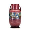 Roseville pink baneda vase large foil label 9 14 x 4 34 dia