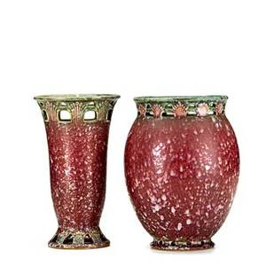 Roseville two pink ferella vases of ovoid and flaring forms unmarked wider 8 14 x 6 12 dia