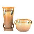 Roseville tall brown montacello vase and bowl taller with foil label taller 10 12 x 5 34 dia