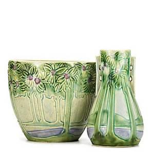 Roseville vista jardiniere and handled vase unmarked tallest 10