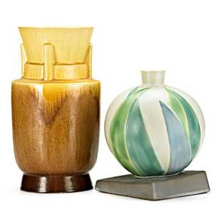 Roseville two futura vases tall tiered vase with flared rim and ball vase with leaves unmarked tallest 10