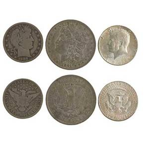 Us coins and currency fiftytwo pieces 10 silver dollars 20 50c 20 25c 1899 speelmanwhite 1 silver certificate and 1 10c fractional currency note 2500 face value 900 silver
