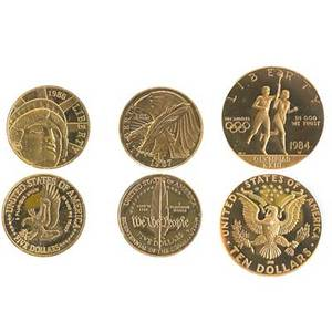 American gold commemorative coins three 1984 proof 10 olympic 1986 proof 5 liberty and 1987 proof 5 bicentennial of the constitution