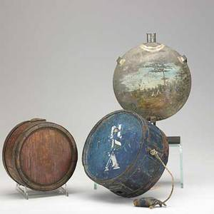 Flask group three 18th19th c tin painted with native american encampment blue painted wood with iron bands and regimental markings and unadorned wood with iron bands largest 7 12 dia