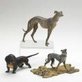 Vienna bronze dogs daschund and two greyhounds early 20th c largest 5 x 6 12