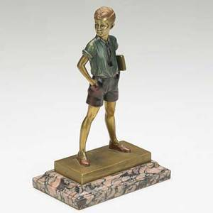 Ferdinand preiss german 18821943 coldpainted bronze sonny boy mounted on marble base 20th c 8 14 x 5 14 x 3 116 literature illustrated in art deco and other figures by bryan cat