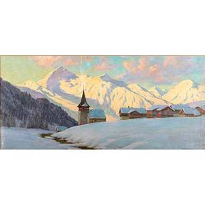 Franz holper swiss act ca1920 oil on canvas of an alpine village at dawn framed signed 23 x 52