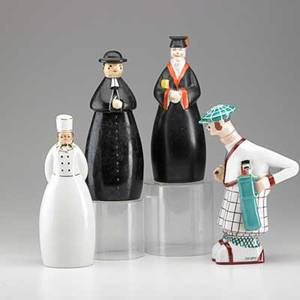 Robj porcelain three figural liquor bottles of a professor a chef and a friar ca 1930 together with a golfer figure made for abercrombie  fitch all marked tallest 10 34