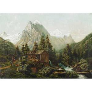 Panoramic european landscape oil on canvas mountain scene late 19thearly 20th c framed 24 x 33