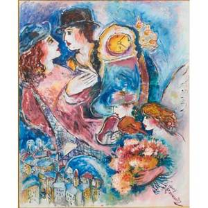 Zamy steynowitz israeli 19512000 untitled oil on canvas in the style of marc chagall framed signed 31 x 26