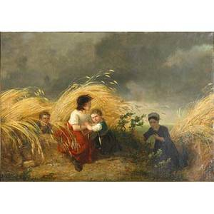 19th c european genre scene oil on canvas of peasant children in a wheat field framed illegibly signed 26 x 37