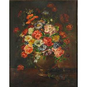 19th c still life oil on canvas of a floral arrangement framed illegibly signed 24 x 28