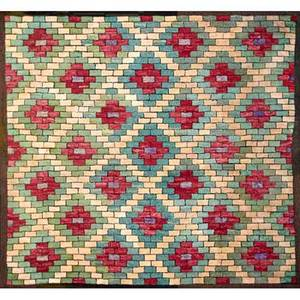 American hooked rug square brickwork with diamond design early 20th c 67 x 76