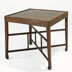 Asian game table teak with four drawer top on folding stretcher base 20th c 32 x 35 sq