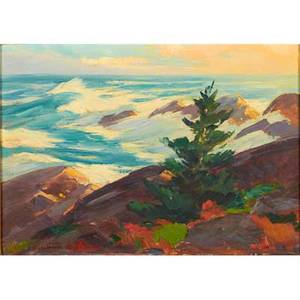 Constance cochrane american 18881962 oil on board september seas monhegan maine framed signed 14 x 20