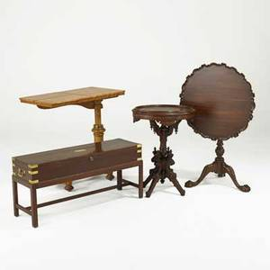 Table group four in mixed woods 19th20th c beidermeier adjustable reading table victorian inlaid oval table birdcage tilttop table and guncase form coffee table with lined interior largest