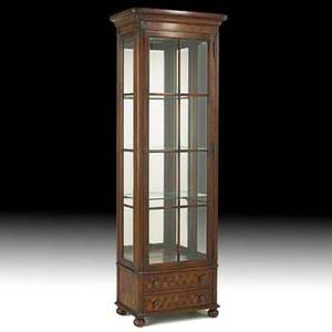 American curio cabinet walnut with inlaid front beveled glass door and three shelves 20th c 79 x 27 x 16