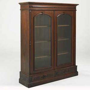 Victorian bookcase walnut with glass front doors and three shelves ca 1870 65 14 x 53 12 x 15