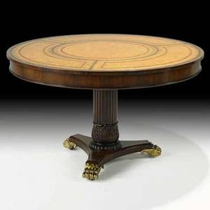 Maitlandsmith mahogany drum table with tooled leather top pedestal base and bronze claw feet 19th c 28 12 x 48 dia
