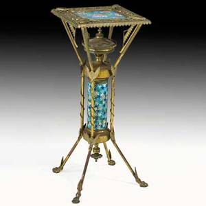 Longwy aesthetic movement brass and tile plant stand with beetle shaped mounts ca 1875 31 58 x 13 sq