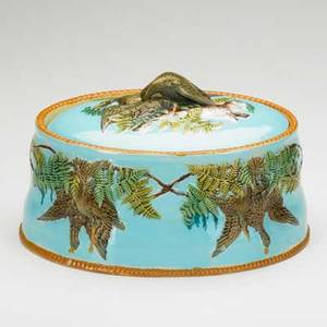 Majolica game dish decorated in relief with various game birds 19th c 6 12 x 7 x 9