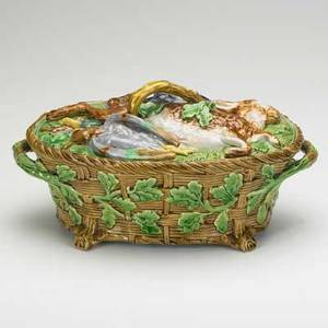 Minton majolica covered game dish basketwork base acorn and oak leaf decoration 19th c marked 6 x 12 x 7 12