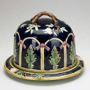 Majolica cheese keeper pie crust edges and floral motif with branch handle 19th c 9 x 11 12